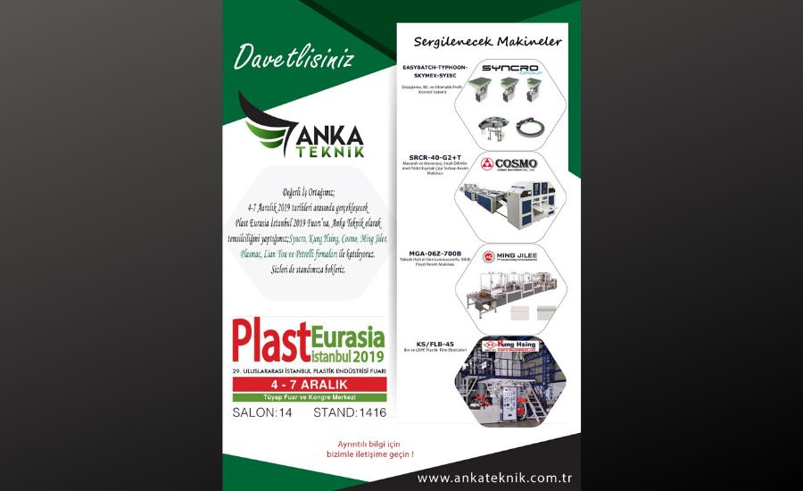 Plast Eurasia 2019 Fuarı'nda Sergileyeceğimiz Makinalar
